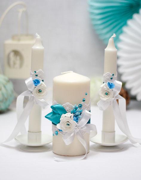 """Домашний очаг + 2 свечи """"Риверсайд"""" (без подсвечников) (бирюзовый)"""