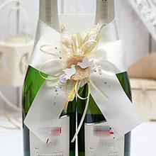 Украшение для свадебного шампанского Семейное гнездышко (айвори)