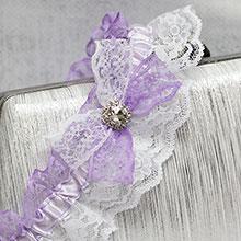 """Свадебная подвязка лоя невесты """"Пара"""" (белый/сирень)"""