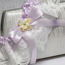"""Свадебная подвязка лоя невесты """"Анфиса"""" (айвори/сиреневый)"""