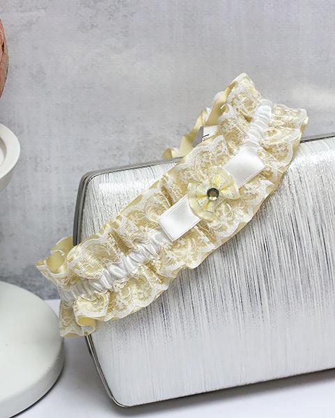 """Свадебная подвязка для невесты """"Злата"""" (золотой)"""