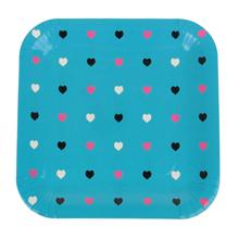 """Квадратные бумажные тарелки """"Сердечки"""" (6 шт, 23 см, голубые)"""