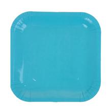 Набор квадратных бумажных тарелок (6 шт, 18 см, голубые)