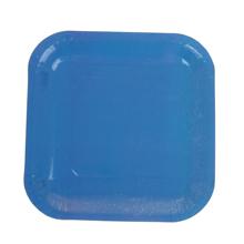 Набор квадратных бумажных тарелок (6 шт, 18 см, синие)