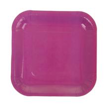 Набор квадратных бумажных тарелок (6 шт, 18 см, фуксия)
