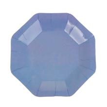 Набор восьмиугольных бумажных тарелок (6 шт, 18 см, синий)