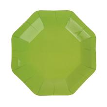 Набор восьмиугольных бумажных тарелок (6 шт, 18 см) (зеленый)