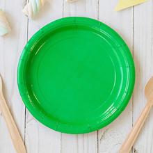 Набор однотонных бумажных тарелок (10 шт, 18 см) (зеленый)