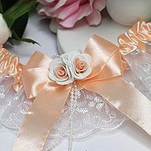 """Свадебная подвязка для невесты """"Дебют"""" (с персиковой лентой)"""