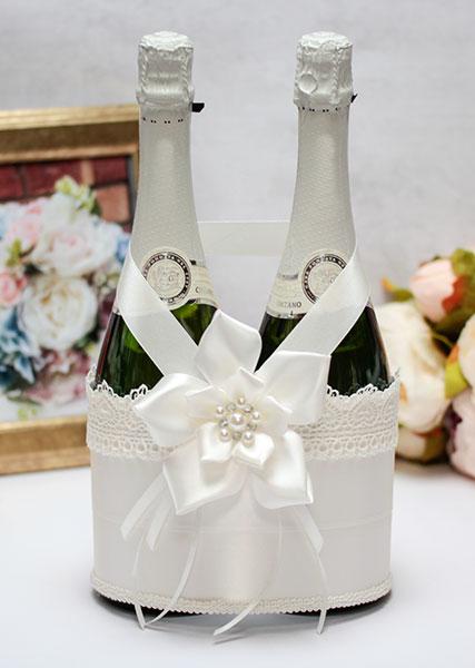 Декоративный чехол для шампанского Нежные цветы (айвори)