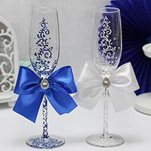 """Свадебные бокалы """"Великолепная пара"""" (белый-синий)"""