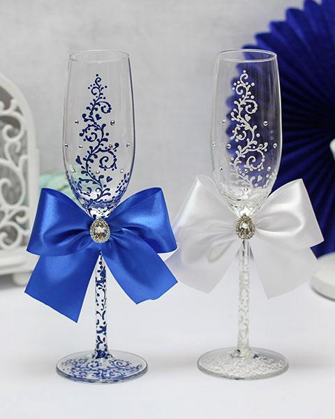 """Свадебные бокалы """"Великолепная пара"""" (2 шт) (синий)"""