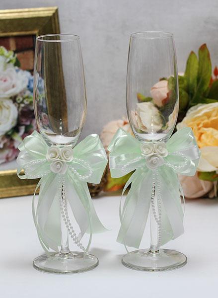 Свадебные бокалы ручной работы Fantastic (2 шт) (мятный)