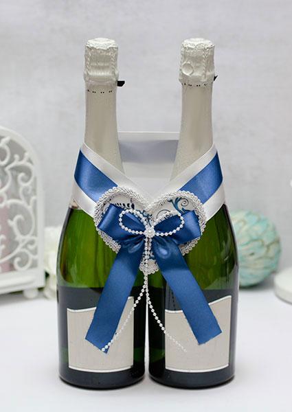 """Украшение для шампанского """"Гжель"""" (синий)"""
