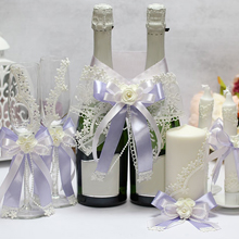 Комплект аксессуаров для свадьбы Розалия (айвори-сирень)