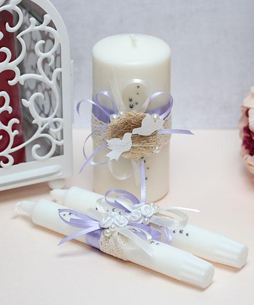 Домашний очаг + 2 свечи Семейное гнездышко (без подсвечников) (сиреневый)