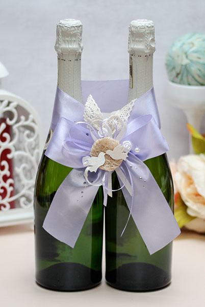 Украшение для свадебного шампанского Семейное гнездышко (сиреневый)