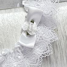 Свадебная подвязка для невесты из плетеного кружева (белый)