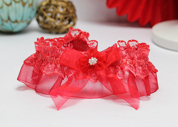 Подвязка для невесты Радость (красный)
