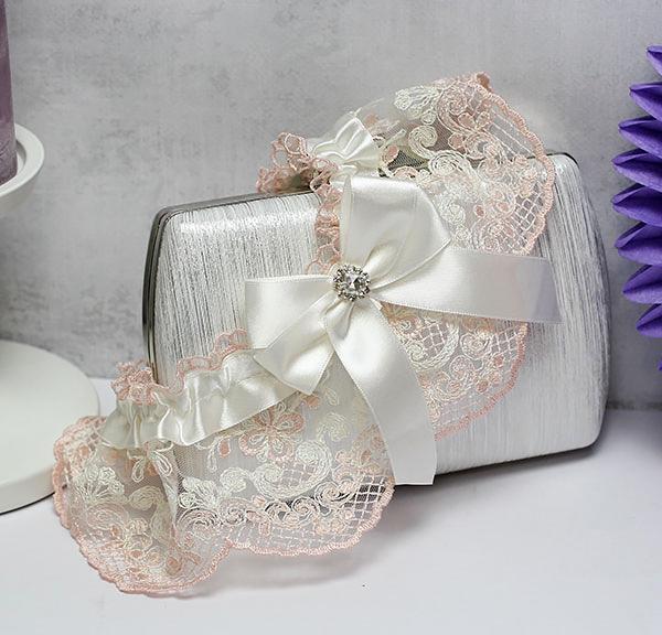 Подвязка для невесты Винтажный шик (розовый)