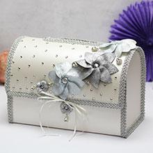 """Свадебный сундучок для подарков открывающийся """"Серебряныецветы"""""""