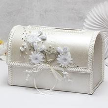 """Свадебный сундучок для подарков открывающийся """"Серебряное сердце"""""""