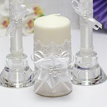 """Домашний очаг + 2 свечи """"Нежные цветы"""" (белый)"""