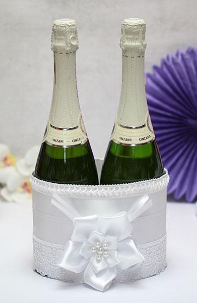 Декоративный чехол для шампанского Нежные цветы (белый)