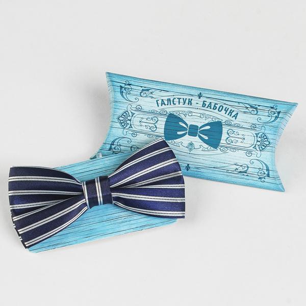 Галстук-бабочка (синий в полоску)
