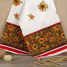 Свадебный рушник в традиционном стиле Хохлома (лён)