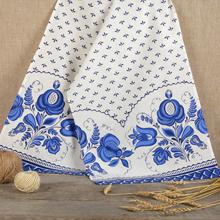 Свадебный рушник в традиционном стиле Гжель (лён)