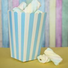 Бумажный снек-бокс в бело-голубую полоску (1 шт)