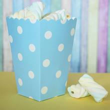 Бумажный снек-бокс голубой с белым горохом (1 шт)