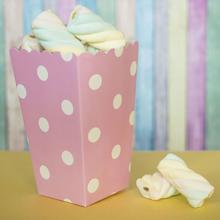 Бумажный снек-бокс розовый с белым горохом (1 шт)