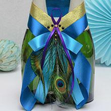Декор для свадебного шампанского Павлинье перо