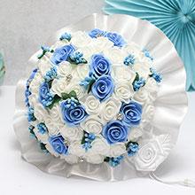 """Букет-дублер для невесты """"Свадебная мечта"""" (белый/голубой)"""