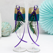 Свадебные бокалы Павлинье перо (2 шт)