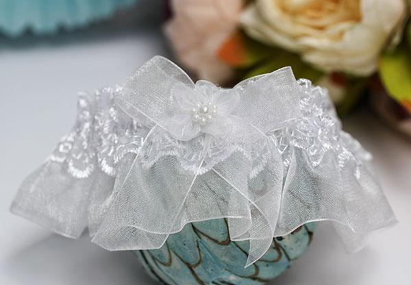 Подвязка для невесты Радость (белый)
