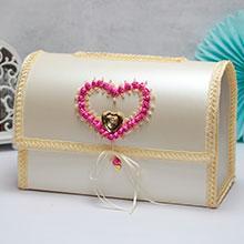 """Свадебный сундучок для подарков открывающийся """"Сердечные узы"""""""