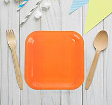 Набор бумажных тарелок, квадратные (оранжевый цвет, 6 шт, 18 см)