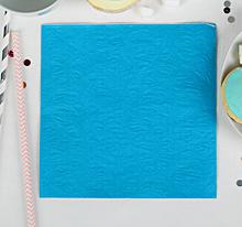 """Бумажные салфетки """"Голубые с выбитым рисунком"""", (набор 20 шт) 33см, однотонные"""