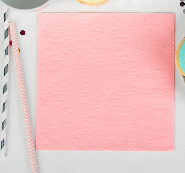 """Бумажные салфетки """"Розовые с выбитым рисунком"""", (набор 20 шт) 33см, однотонные"""