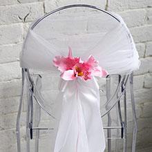 """Чехол для украшения стула из фатина """"Розовая орхидея"""""""