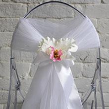 """Чехол для украшения стула из фатина """"Бело-розовая орхидея"""""""