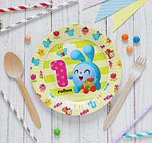 """Бумажные тарелки""""1 год, Малышарики"""", 17 см (6 шт)"""