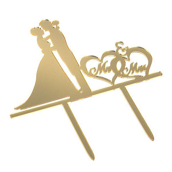 """Топпер в торт """"Mr & Mrs"""", золото"""