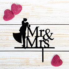 """Топпер в торт """"Mr & Mrs"""", черный"""