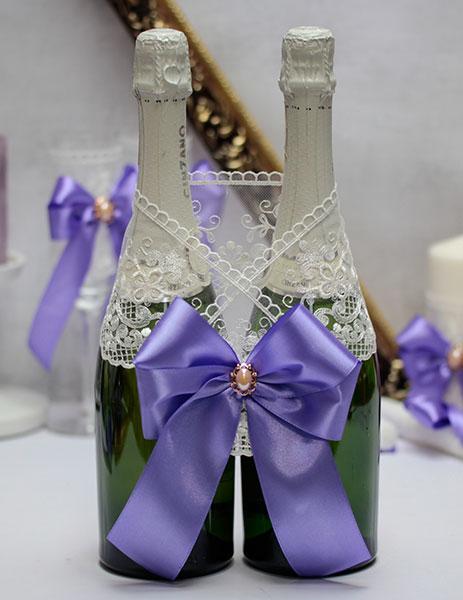 Украшение для шампанского Винтажный шик (сиреневый)