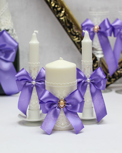Домашний очаг + 2 свечи Винтажный шик (без подсвечников) (сиреневый)