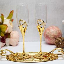 """Свадебные бокалы с подставкой """"Exclusive"""" (2 шт, золотистые)"""